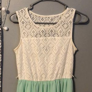 White and Mint Green Party Dress